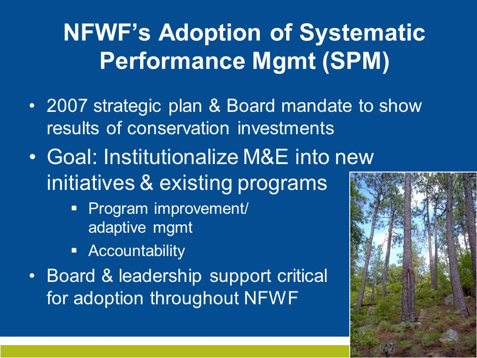 NFWF's Application of Systematic Performance Mgmt Applied at program/initiative level: Used to design initiatives from start & retrofit existing programs NFWF facilitates participatory planning process with partners (both funders & grantees)