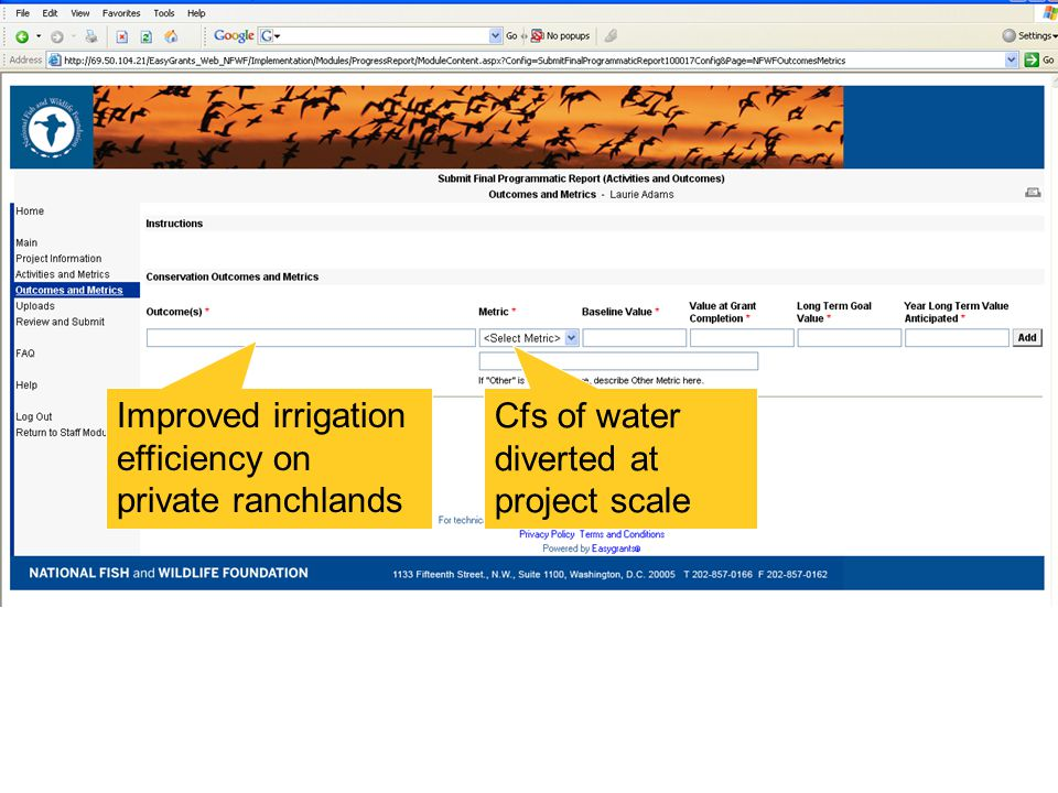 Improved irrigation efficiency on private ranchlands Cfs of water diverted at project scale