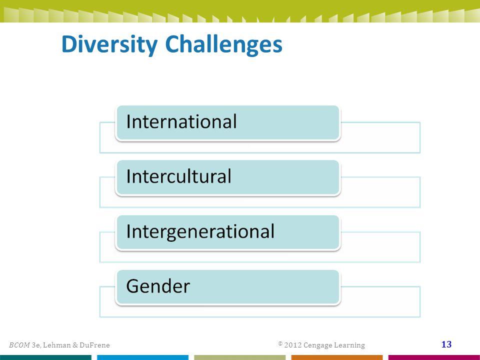 BCOM 3e, Lehman & DuFrene © 2012 Cengage Learning 13 Diversity Challenges