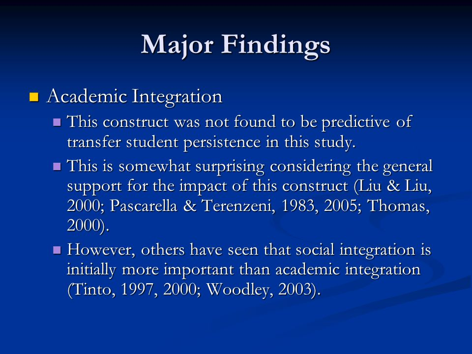 Major Findings Academic Integration Academic Integration This construct was not found to be predictive of transfer student persistence in this study.