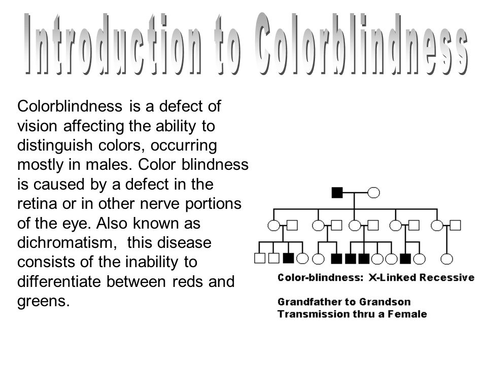 Colorblindness is a defect of vision affecting the ability to distinguish colors, occurring mostly in males. Color blindness is caused by a defect in