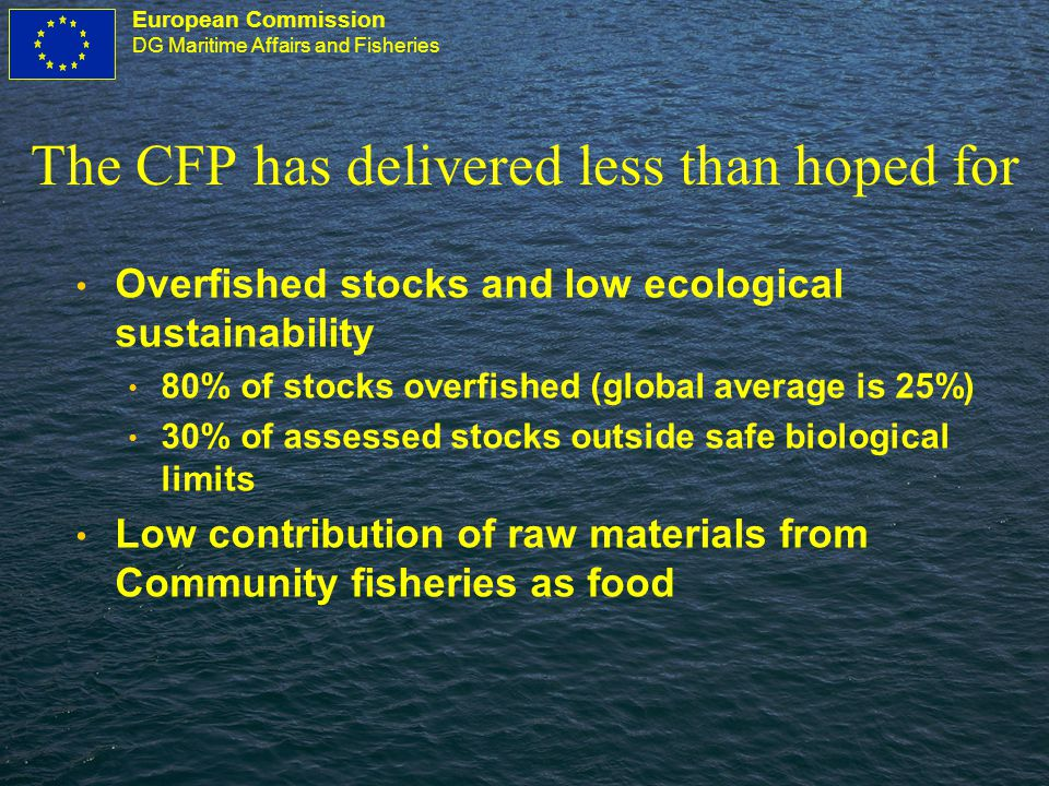 European Commission DG Maritime Affairs and Fisheries The CFP has delivered less than hoped for Overfished stocks and low ecological sustainability 80% of stocks overfished (global average is 25%) 30% of assessed stocks outside safe biological limits Low contribution of raw materials from Community fisheries as food