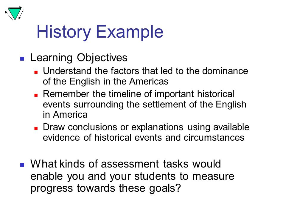 History Example Learning Objectives Understand the factors that led to the dominance of the English in the Americas Remember the timeline of important historical events surrounding the settlement of the English in America Draw conclusions or explanations using available evidence of historical events and circumstances What kinds of assessment tasks would enable you and your students to measure progress towards these goals
