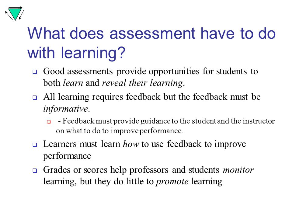 What does assessment have to do with learning.