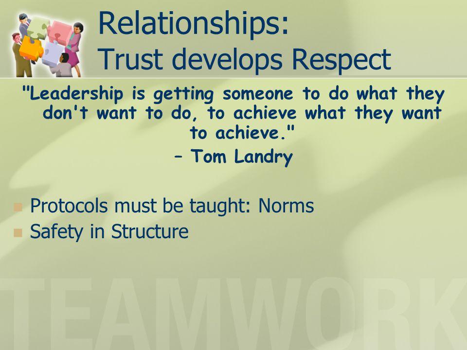 Relationships: Trust develops Respect