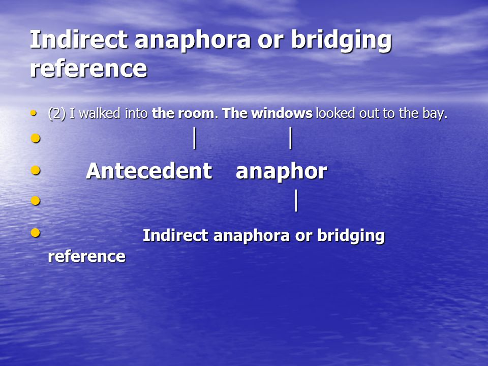 Indirect anaphora or bridging reference (2) I walked into the room. The windows looked out to the bay. (2) I walked into the room. The windows looked