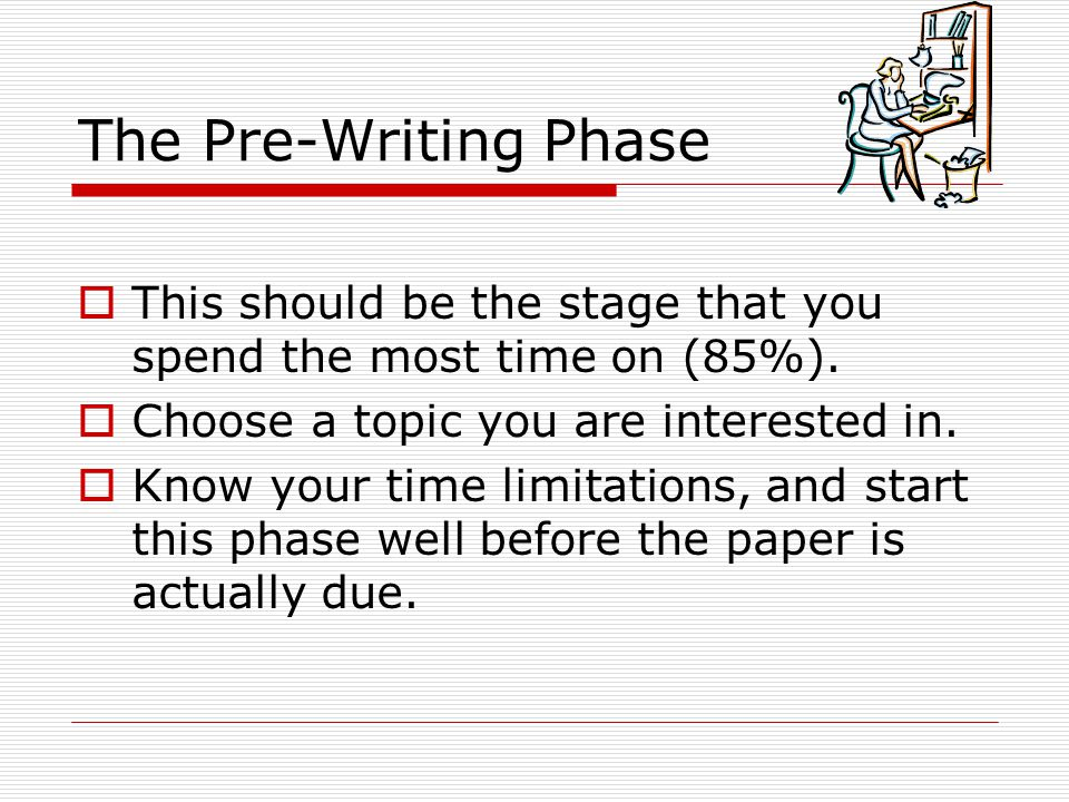 The Pre-Writing Phase  This should be the stage that you spend the most time on (85%).