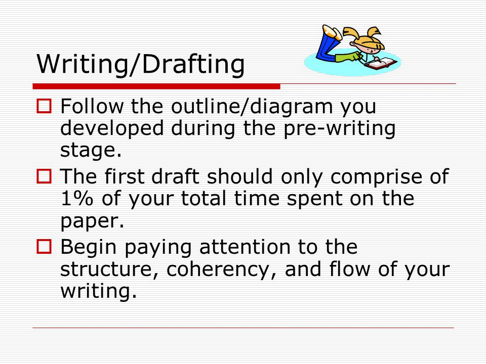 Writing/Drafting  Make sure to identify which are your original ideas and which are the ideas of another person by citing.