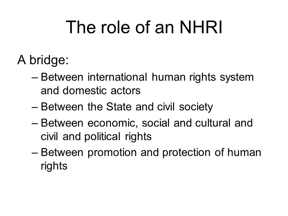 The role of an NHRI A bridge: –Between international human rights system and domestic actors –Between the State and civil society –Between economic, social and cultural and civil and political rights –Between promotion and protection of human rights