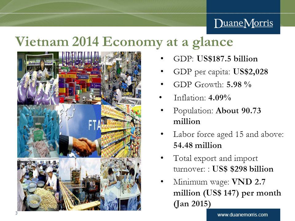 www.duanemorris.com Vietnam 2014 Economy at a glance GDP: US$187.5 billion GDP per capita: US$2,028 GDP Growth: 5.98 % Inflation: 4.09% Population: Ab