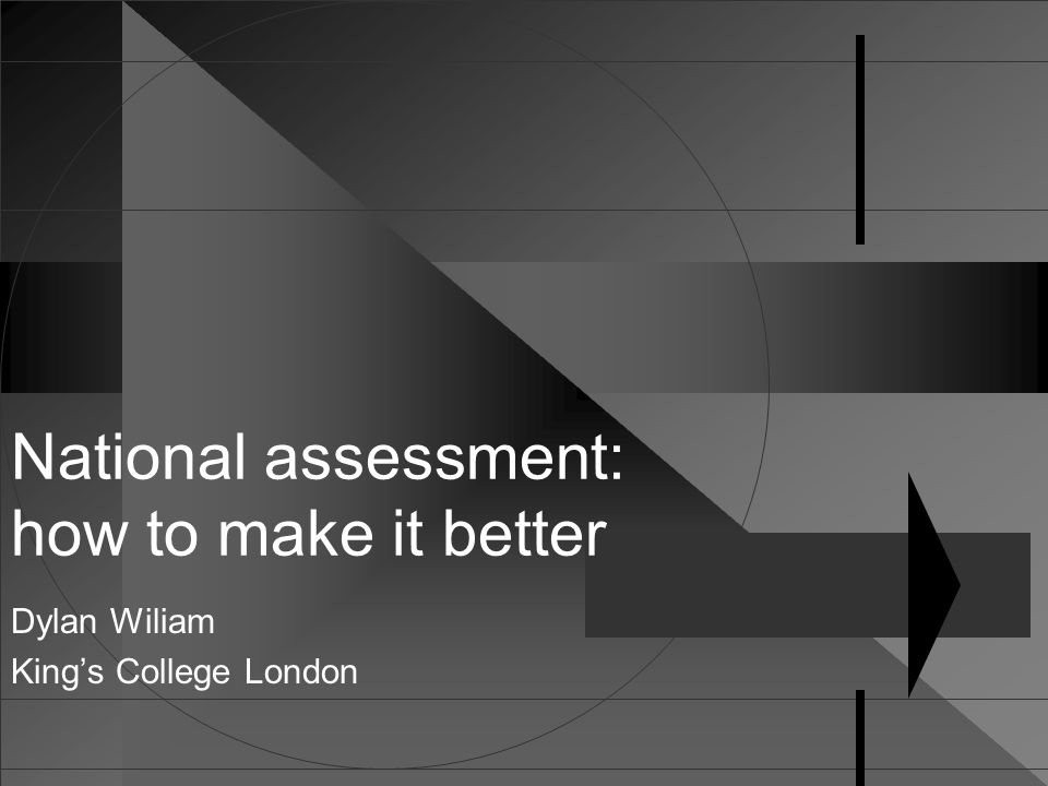 National assessment: how to make it better Dylan Wiliam King's College London