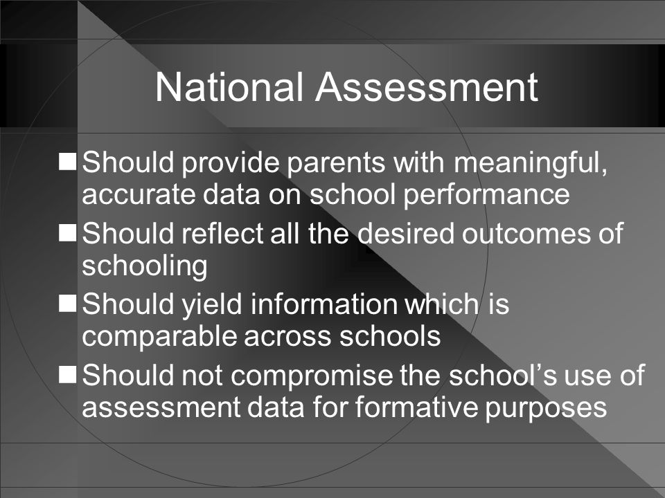 National Assessment Should provide parents with meaningful, accurate data on school performance Should reflect all the desired outcomes of schooling S