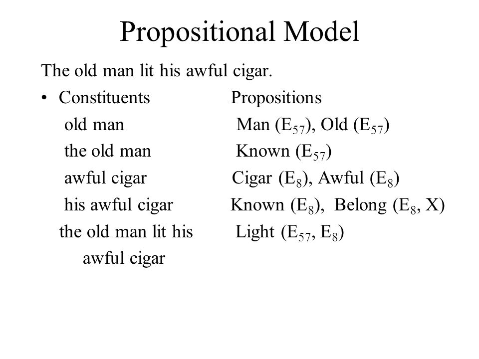 Propositional Model The old man lit his awful cigar. Constituents Propositions old man Man (E 57 ), Old (E 57 ) the old man Known (E 57 ) awful cigar