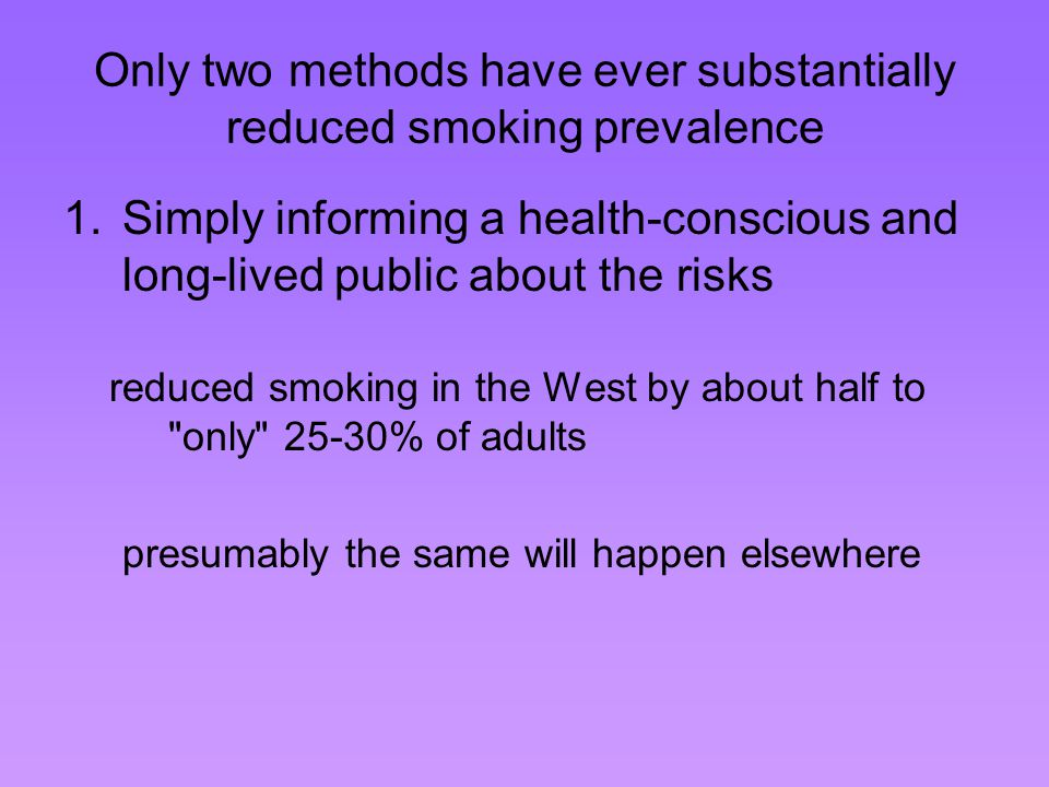 Only two methods have ever substantially reduced smoking prevalence 2.