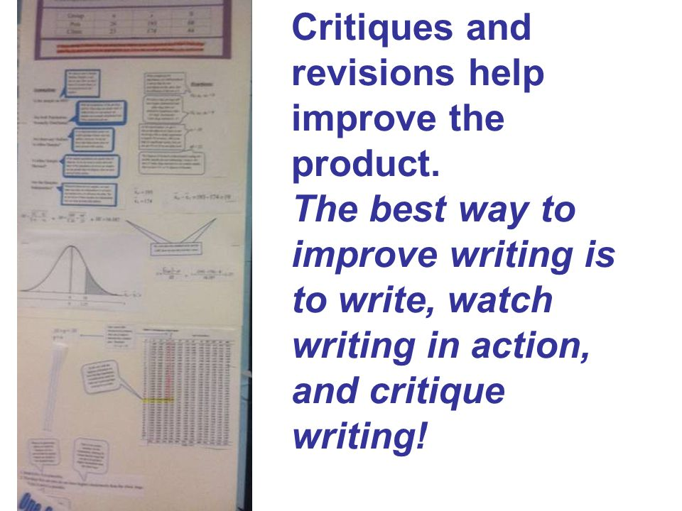 Critiques and revisions help improve the product. The best way to improve writing is to write, watch writing in action, and critique writing!