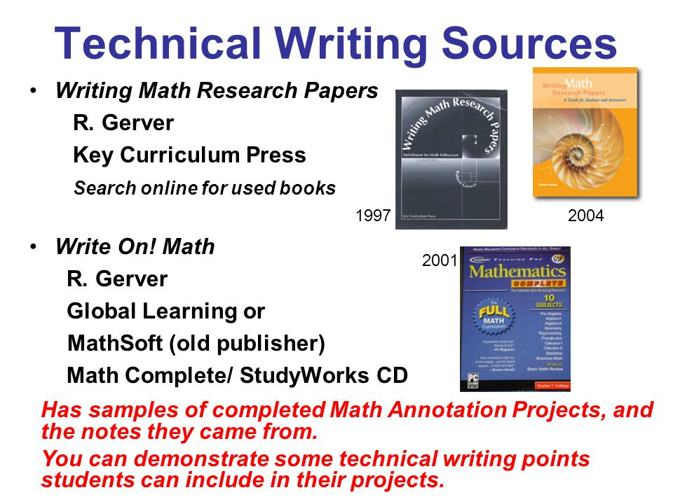 Technical Writing Sources Writing Math Research Papers R.