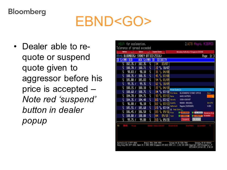 EBND Dealer able to re- quote or suspend quote given to aggressor before his price is accepted – Note red 'suspend' button in dealer popup