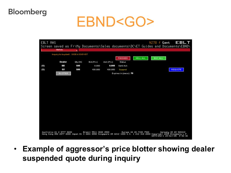 EBND Example of aggressor's price blotter showing dealer suspended quote during inquiry