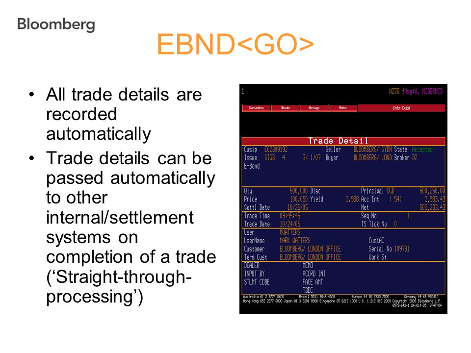 EBND All trade details are recorded automatically Trade details can be passed automatically to other internal/settlement systems on completion of a tr