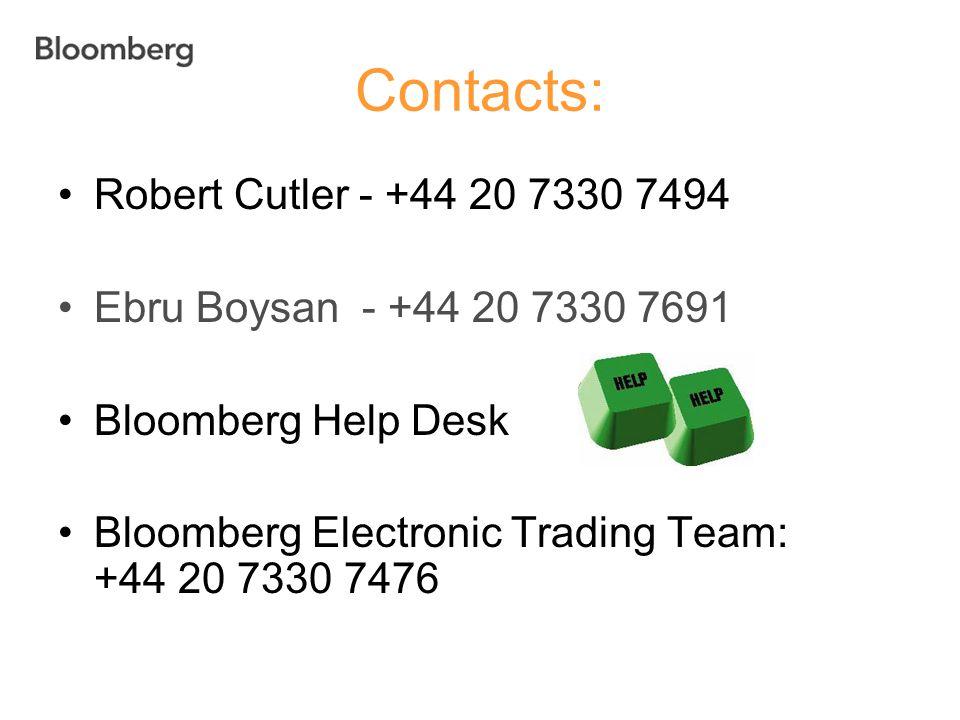 Contacts: Robert Cutler - +44 20 7330 7494 Ebru Boysan - +44 20 7330 7691 Bloomberg Help Desk Bloomberg Electronic Trading Team: +44 20 7330 7476
