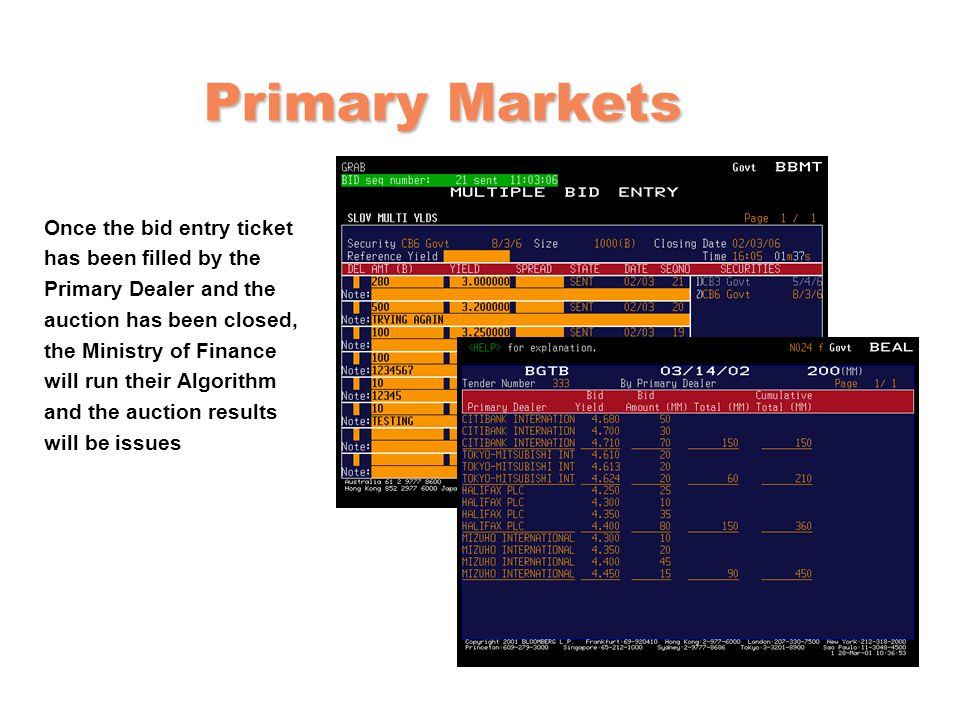 Primary Markets Once the bid entry ticket has been filled by the Primary Dealer and the auction has been closed, the Ministry of Finance will run their Algorithm and the auction results will be issues