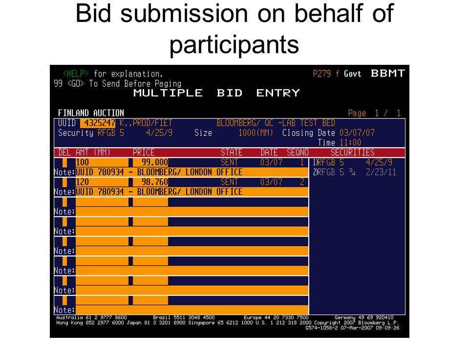 Bid submission on behalf of participants Issuers can enter bids on behalf of participants should a participant have a technical problem. (optional) –T