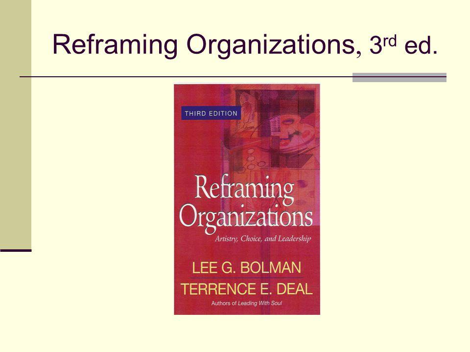 Reframing Organizations, 3 rd ed.