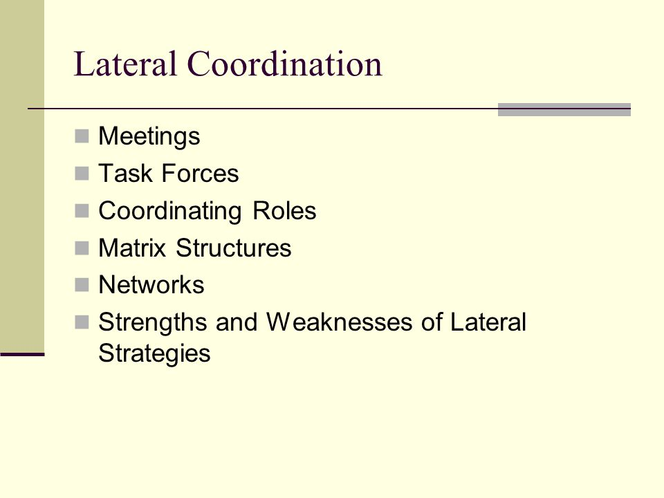 Lateral Coordination Meetings Task Forces Coordinating Roles Matrix Structures Networks Strengths and Weaknesses of Lateral Strategies