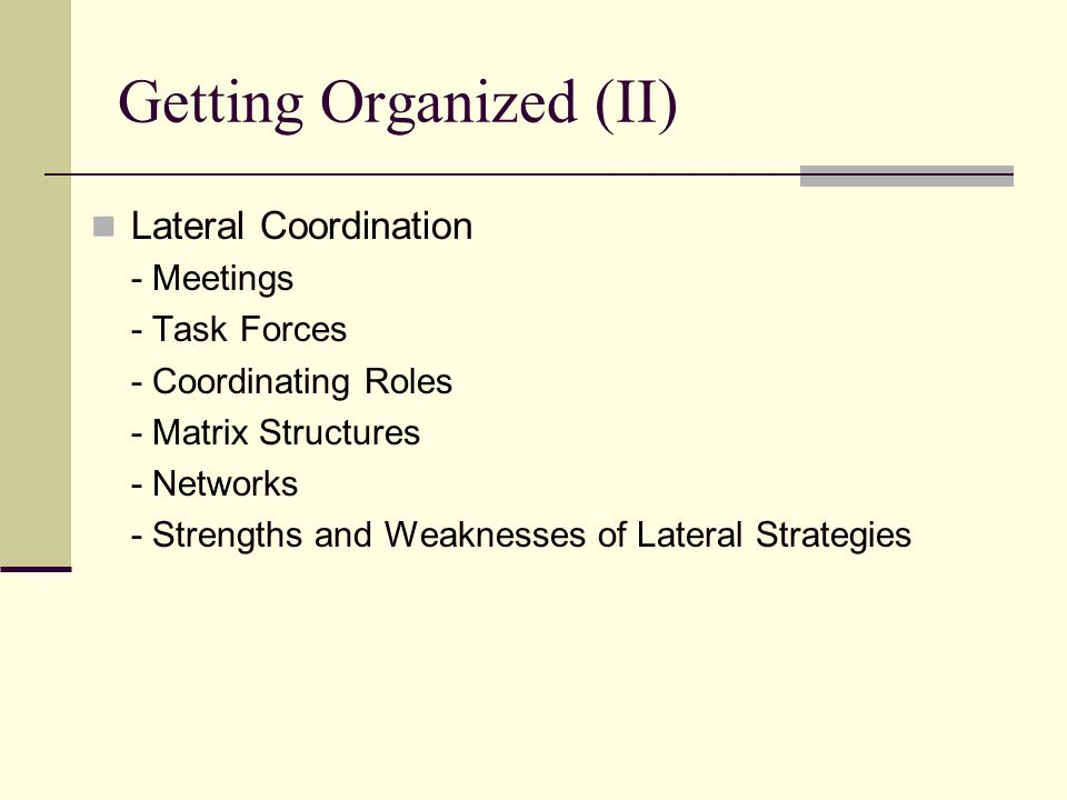 Getting Organized (II) Lateral Coordination - Meetings - Task Forces - Coordinating Roles - Matrix Structures - Networks - Strengths and Weaknesses of Lateral Strategies