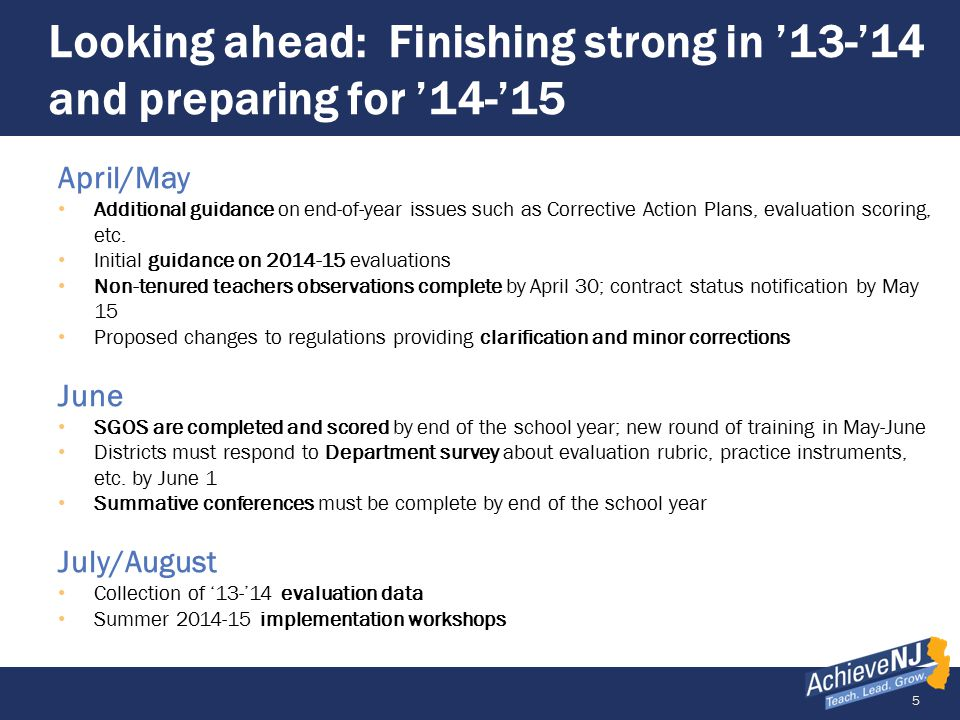 5 Looking ahead: Finishing strong in '13-'14 and preparing for '14-'15 April/May Additional guidance on end-of-year issues such as Corrective Action Plans, evaluation scoring, etc.