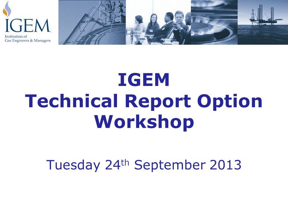 IGEM Technical Report Option Workshop Tuesday 24 th September 2013