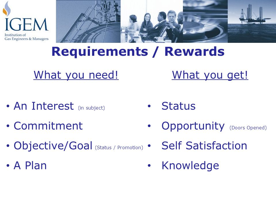 Requirements / Rewards What you get.