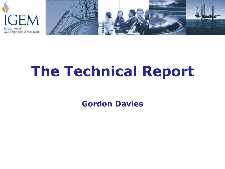 The Technical Report Gordon Davies