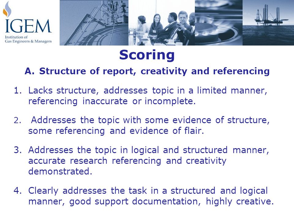 Scoring A.Structure of report, creativity and referencing 1.Lacks structure, addresses topic in a limited manner, referencing inaccurate or incomplete.