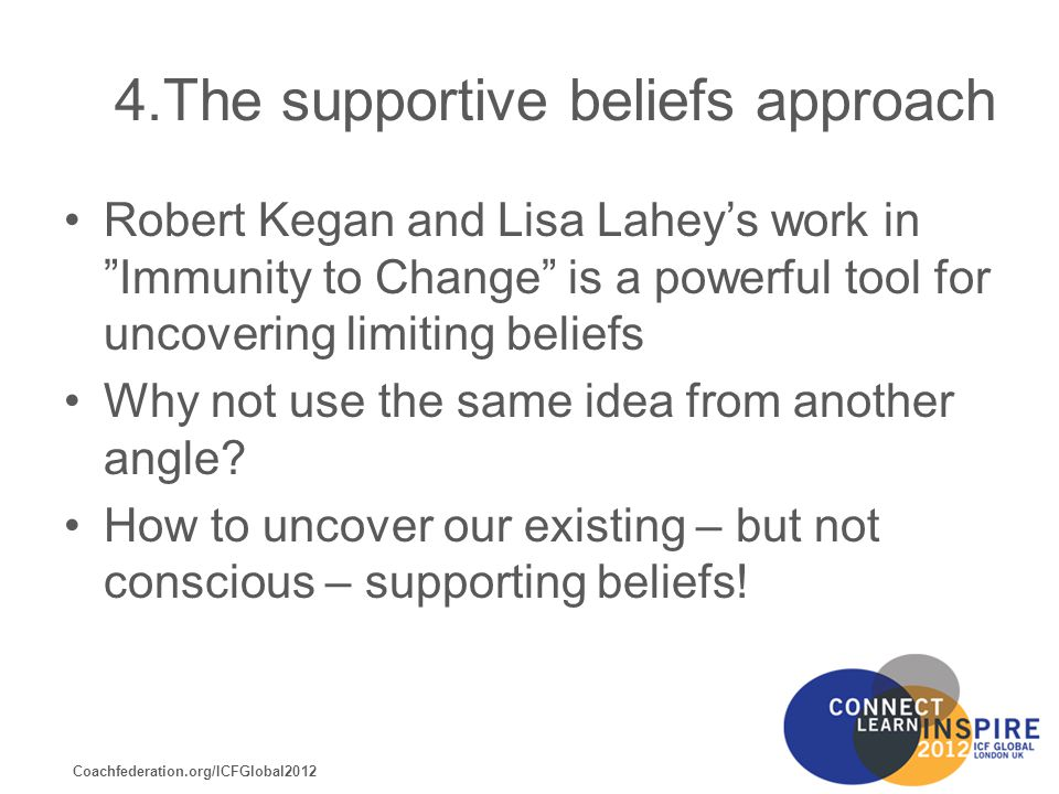 Coachfederation.org/ICFGlobal2012 4.The supportive beliefs approach Robert Kegan and Lisa Lahey's work in Immunity to Change is a powerful tool for uncovering limiting beliefs Why not use the same idea from another angle.