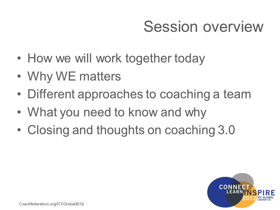 Coachfederation.org/ICFGlobal2012 From this session you will walk away with Insight into the development of a collaborative culture A deeper appreciation for the value of team coaching and its contribution to the organisation A model for team coaching A clearer understanding of what is required of a team coach