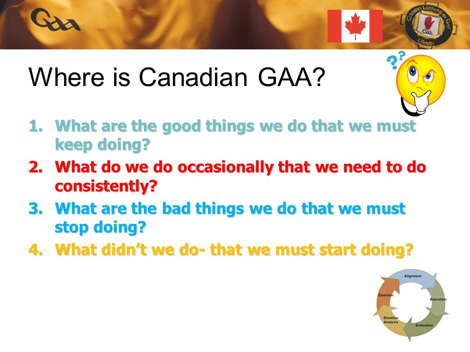 Where is Canadian GAA. 1.What are the good things we do that we must keep doing.