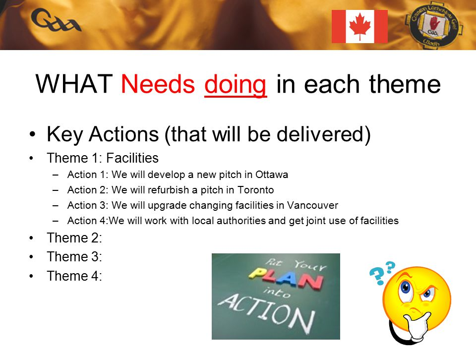 WHAT Needs doing in each theme Key Actions (that will be delivered) Theme 1: Facilities –Action 1: We will develop a new pitch in Ottawa –Action 2: We will refurbish a pitch in Toronto –Action 3: We will upgrade changing facilities in Vancouver –Action 4:We will work with local authorities and get joint use of facilities Theme 2: Theme 3: Theme 4: