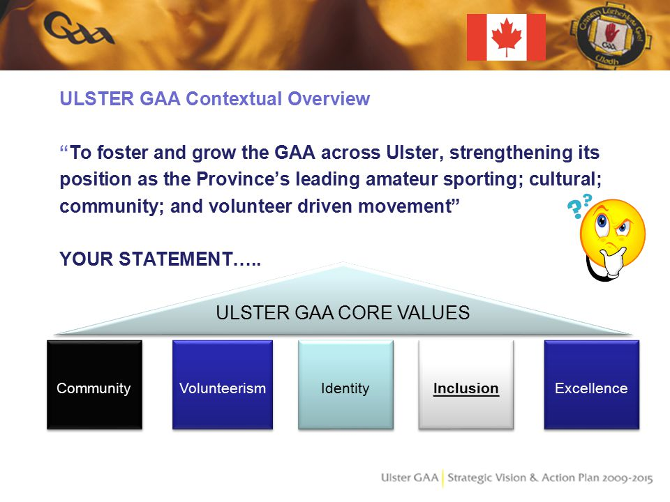 ULSTER GAA Contextual Overview To foster and grow the GAA across Ulster, strengthening its position as the Province's leading amateur sporting; cultural; community; and volunteer driven movement YOUR STATEMENT…..