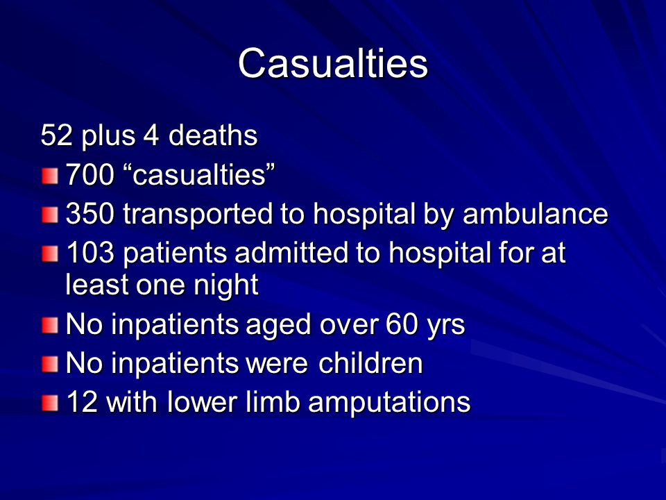Casualties 52 plus 4 deaths 700 casualties 350 transported to hospital by ambulance 103 patients admitted to hospital for at least one night No inpatients aged over 60 yrs No inpatients were children 12 with lower limb amputations