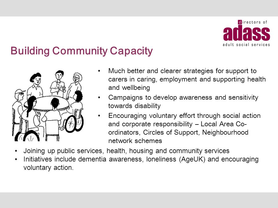 Building Community Capacity Much better and clearer strategies for support to carers in caring, employment and supporting health and wellbeing Campaig