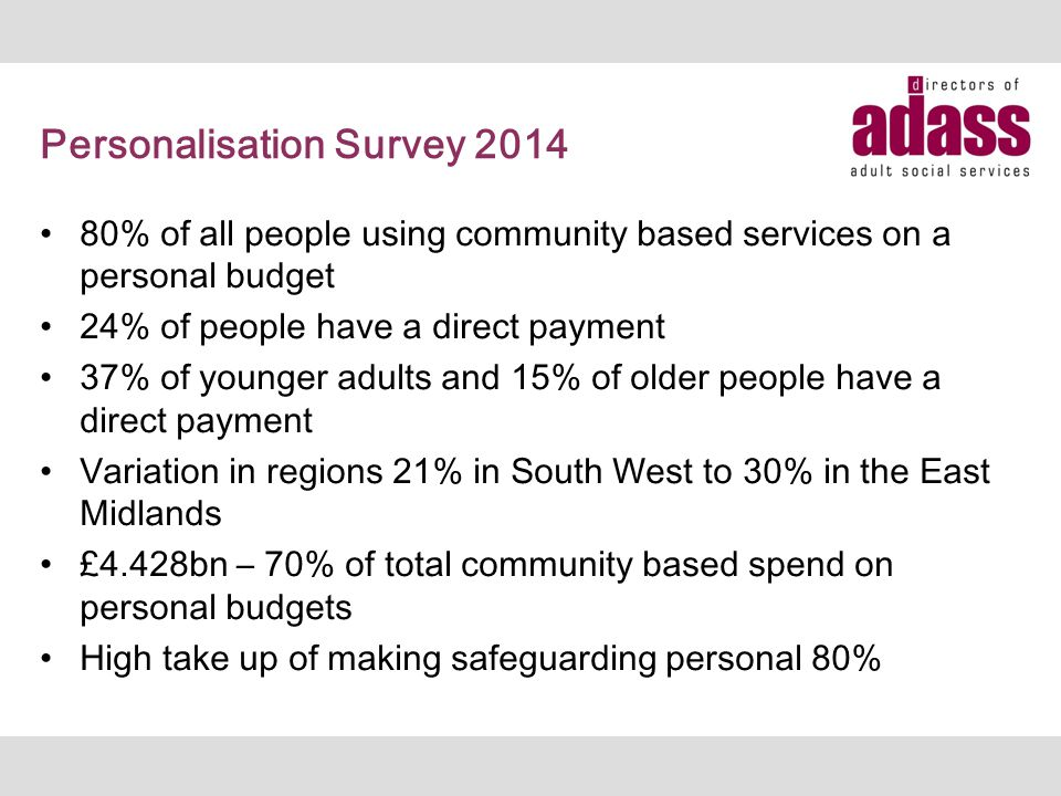 Personalisation Survey 2014 80% of all people using community based services on a personal budget 24% of people have a direct payment 37% of younger adults and 15% of older people have a direct payment Variation in regions 21% in South West to 30% in the East Midlands £4.428bn – 70% of total community based spend on personal budgets High take up of making safeguarding personal 80%