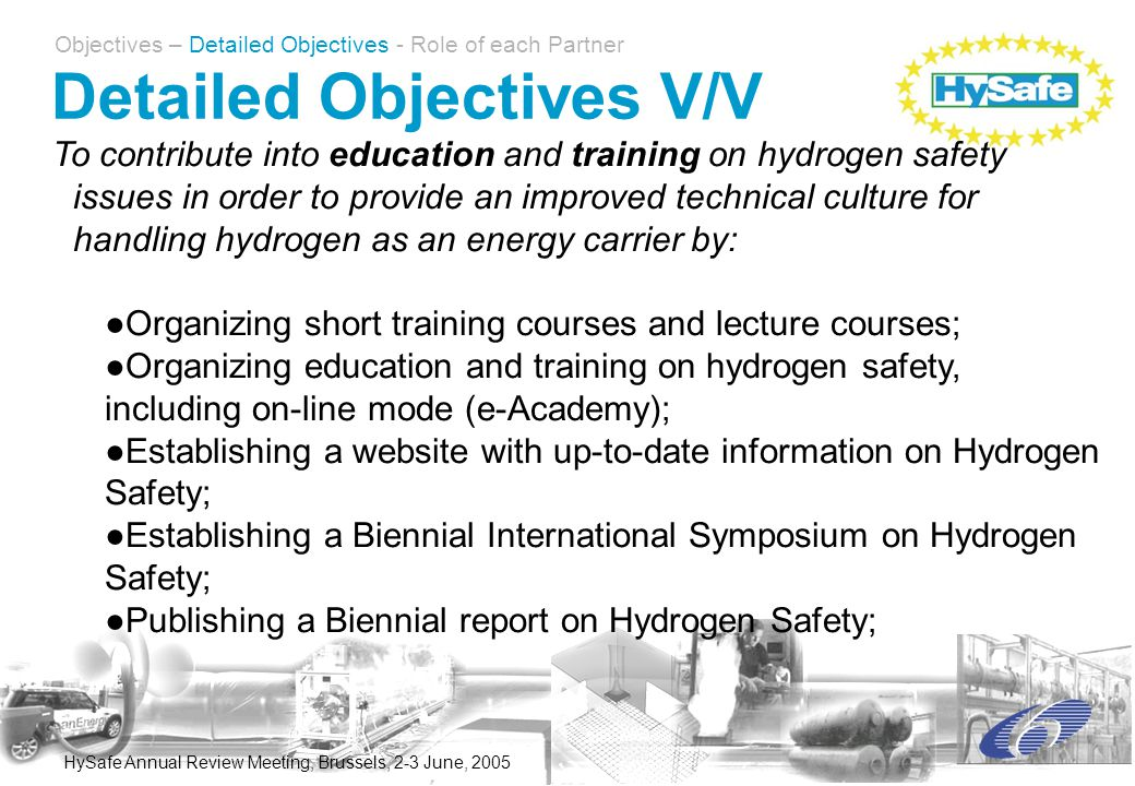 HySafe Annual Review Meeting, Brussels, 2-3 June, 2005 To contribute into education and training on hydrogen safety issues in order to provide an improved technical culture for handling hydrogen as an energy carrier by: ●Organizing short training courses and lecture courses; ●Organizing education and training on hydrogen safety, including on-line mode (e-Academy); ●Establishing a website with up-to-date information on Hydrogen Safety; ●Establishing a Biennial International Symposium on Hydrogen Safety; ●Publishing a Biennial report on Hydrogen Safety; Detailed Objectives V/V Objectives – Detailed Objectives - Role of each Partner
