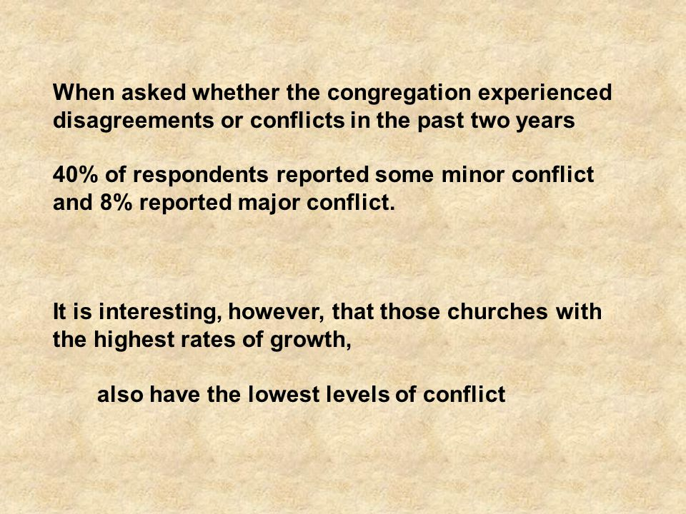 When asked whether the congregation experienced disagreements or conflicts in the past two years 40% of respondents reported some minor conflict and 8% reported major conflict.