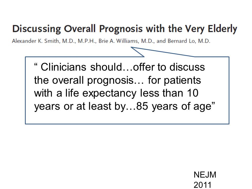 Clinicians should…offer to discuss the overall prognosis… for patients with a life expectancy less than 10 years or at least by…85 years of age NEJM 2011