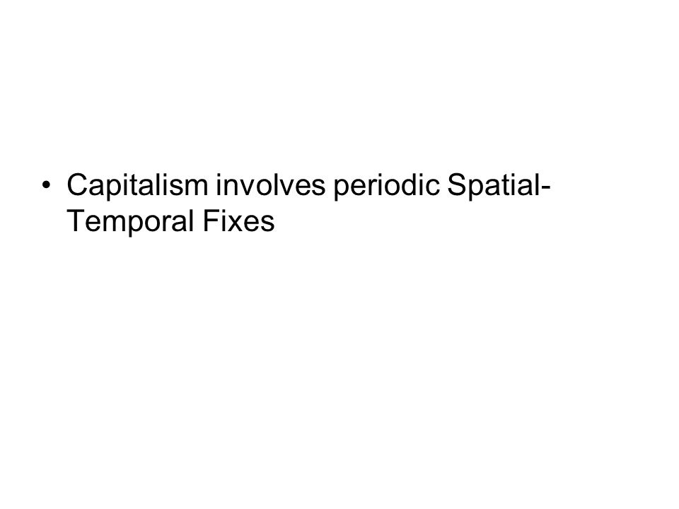 Importantly for Harvey been a qualitative and quantitative shift in the organisation of space and time (and capitalism more generally) since 1973 New Spatial Temporal Fix Annihilation of Space