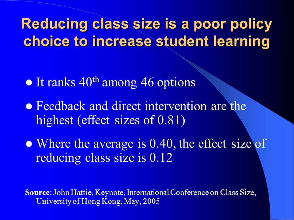 Reducing class size is a poor policy choice to increase student learning It ranks 40 th among 46 options Feedback and direct intervention are the highest (effect sizes of 0.81) Where the average is 0.40, the effect size of reducing class size is 0.12 Source: John Hattie, Keynote, International Conference on Class Size, University of Hong Kong, May, 2005