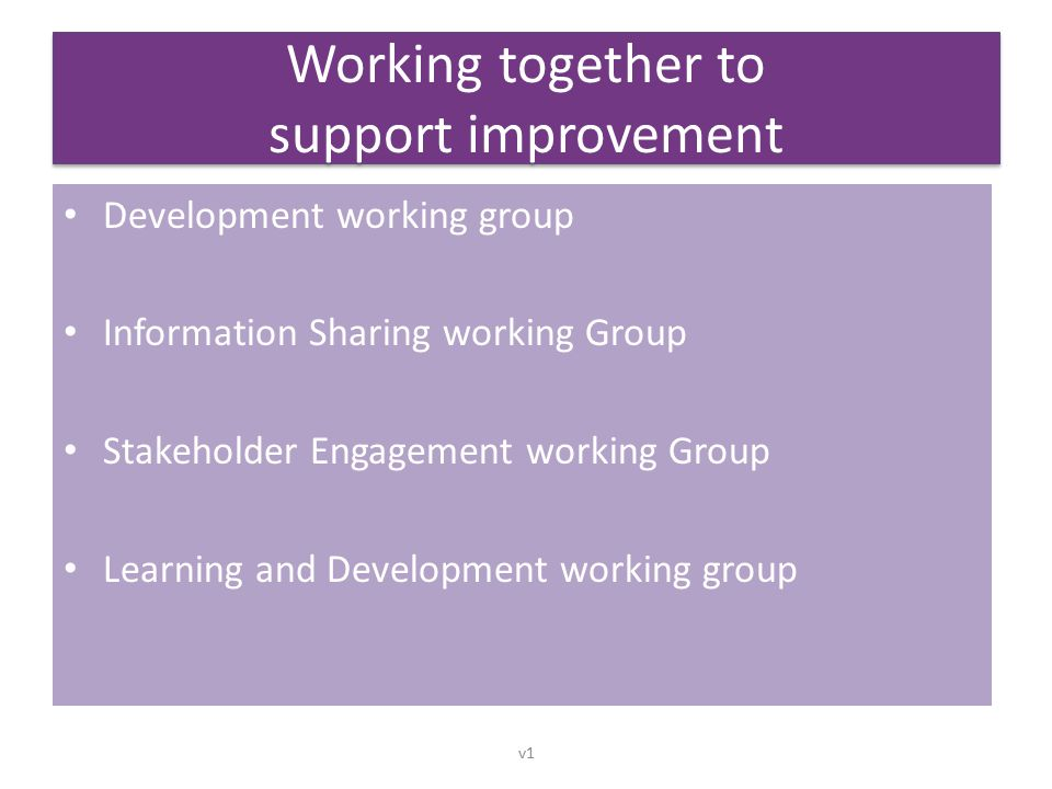 Working together to support improvement Development working group Information Sharing working Group Stakeholder Engagement working Group Learning and Development working group v1