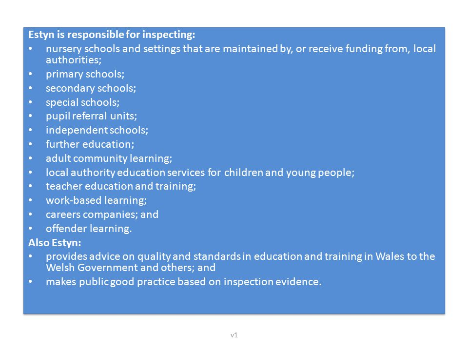 Estyn is responsible for inspecting: nursery schools and settings that are maintained by, or receive funding from, local authorities; primary schools;