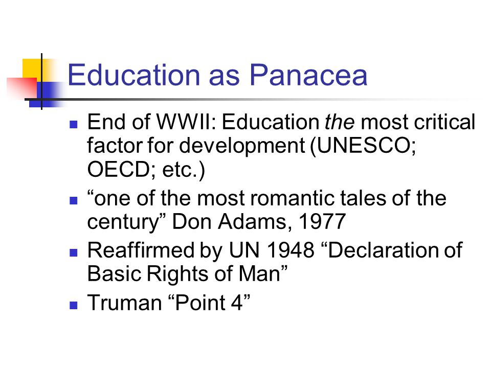 Education as Panacea End of WWII: Education the most critical factor for development (UNESCO; OECD; etc.) one of the most romantic tales of the century Don Adams, 1977 Reaffirmed by UN 1948 Declaration of Basic Rights of Man Truman Point 4